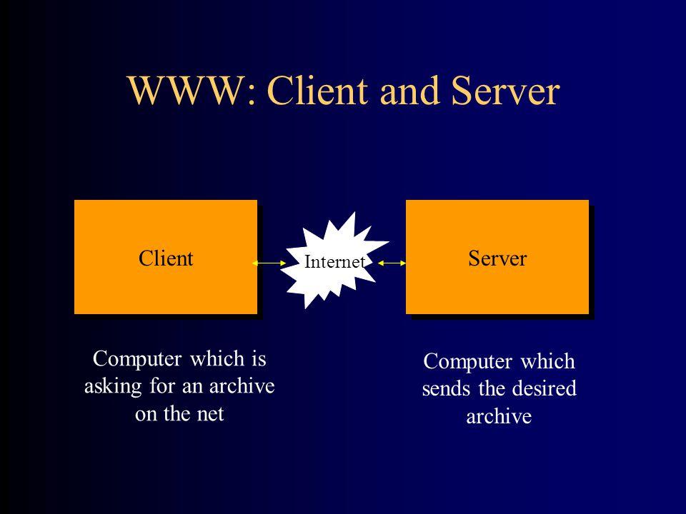 Client software: Netscape, Internet Explorer (browser) Server software: WWW Server HTTP WWW: Client and Server Client Server I Internet