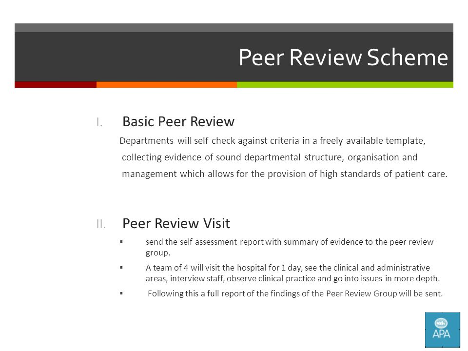 Peer Review Scheme I.