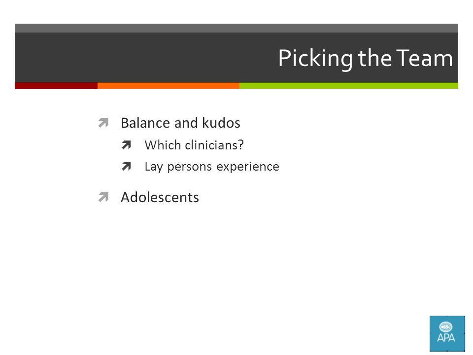 Picking the Team  Balance and kudos  Which clinicians  Lay persons experience  Adolescents