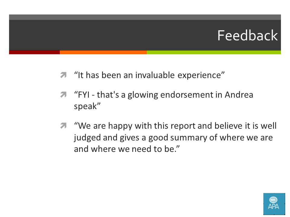 Feedback  It has been an invaluable experience  FYI - that s a glowing endorsement in Andrea speak  We are happy with this report and believe it is well judged and gives a good summary of where we are and where we need to be.