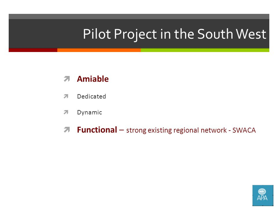 Pilot Project in the South West  Amiable  Dedicated  Dynamic  Functional – strong existing regional network - SWACA