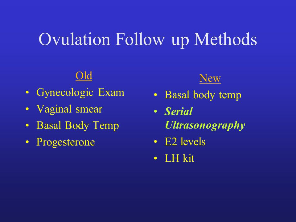 Ovulation Follow up Methods Old Gynecologic Exam Vaginal smear Basal Body Temp Progesterone New Basal body temp Serial Ultrasonography E2 levels LH kit