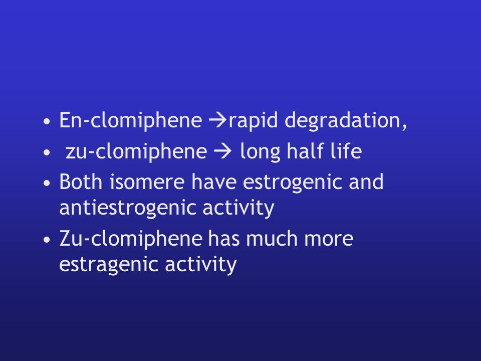 En-clomiphene  rapid degradation, zu-clomiphene  long half life Both isomere have estrogenic and antiestrogenic activity Zu-clomiphene has much more estragenic activity