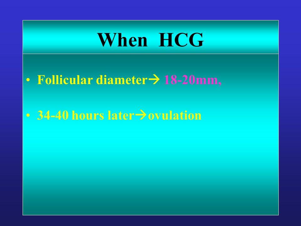When HCG Follicular diameter  18-20mm, 34-40 hours later  ovulation