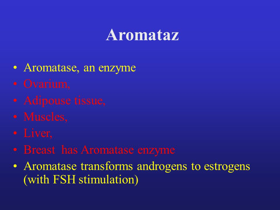 Aromataz Aromatase, an enzyme Ovarium, Adipouse tissue, Muscles, Liver, Breast has Aromatase enzyme Aromatase transforms androgens to estrogens (with FSH stimulation)