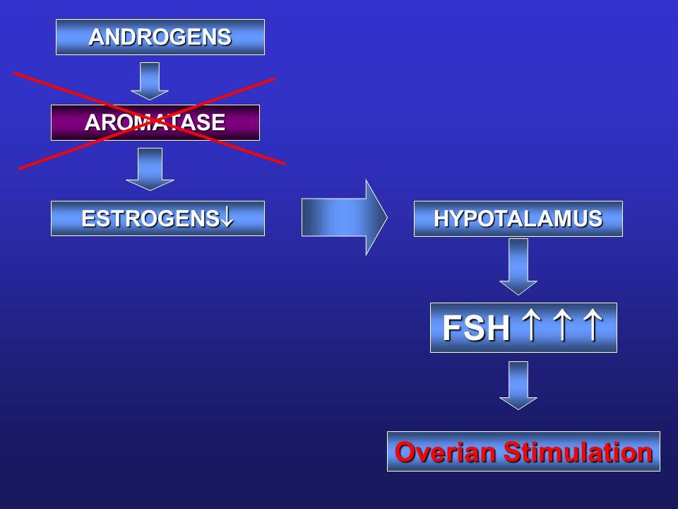 ANDROGENS AROMATASE ESTROGENS  HYPOTALAMUS FSH    Overian Stimulation