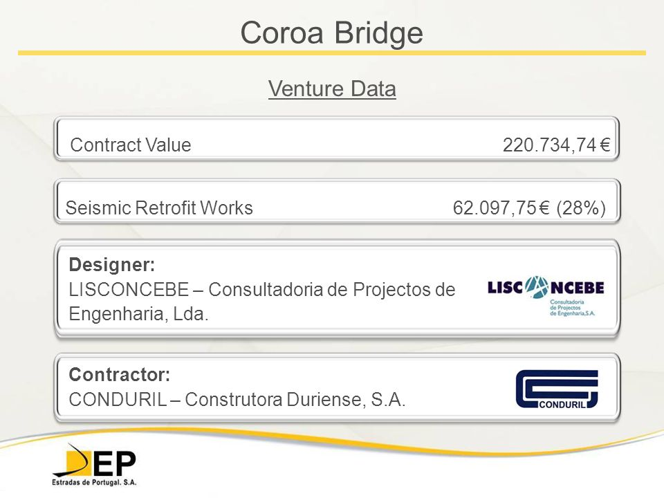 Coroa Bridge Venture Data Contract Value 220.734,74 € Seismic Retrofit Works 62.097,75 € (28%) Designer: LISCONCEBE – Consultadoria de Projectos de Engenharia, Lda.