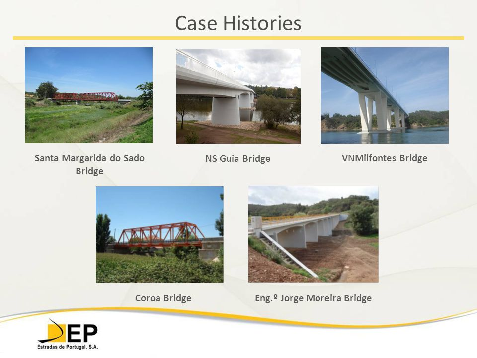 Case Histories Santa Margarida do Sado Bridge VNMilfontes Bridge NS Guia Bridge Eng.º Jorge Moreira BridgeCoroa Bridge
