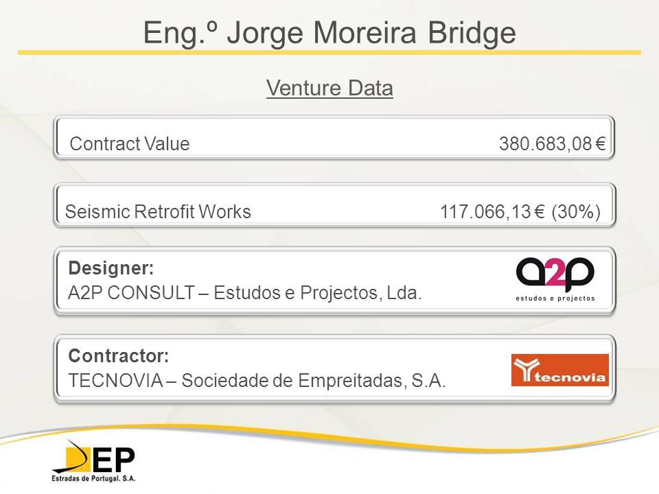 Eng.º Jorge Moreira Bridge Venture Data Contract Value 380.683,08 € Seismic Retrofit Works 117.066,13 € (30%) Designer: A2P CONSULT – Estudos e Projectos, Lda.