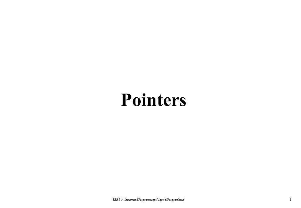 BBS514 Structured Programming (Yapısal Programlama)1 Pointers