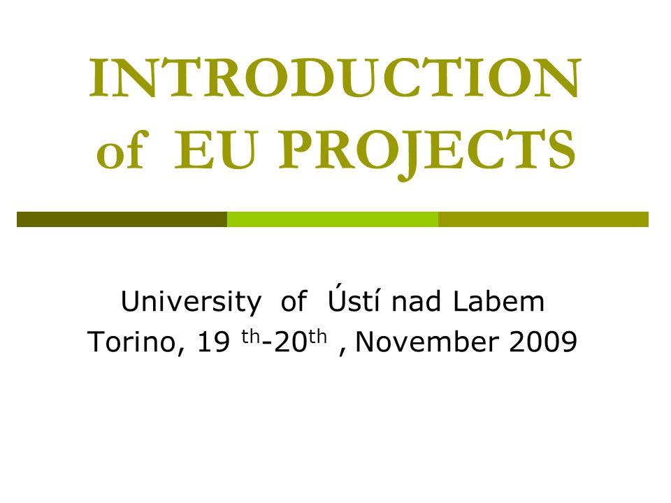 INTRODUCTION of EU PROJECTS University of Ústí nad Labem Torino, 19 th -20 th, November 2009