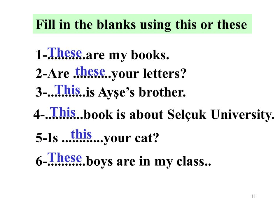 11 Fill in the blanks using this or these 1-...........are my books.