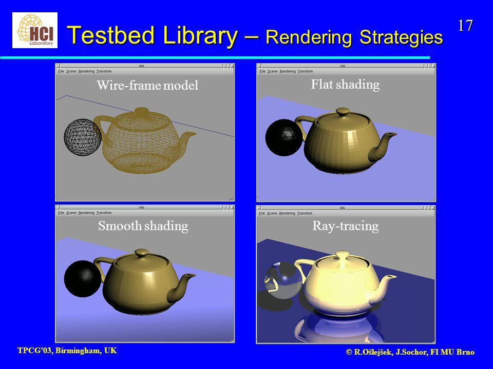 17 TPCG'03, Birmingham, UK © R.Ošlejšek, J.Sochor, FI MU Brno Flat shading Wire-frame model Smooth shading Ray-tracing Testbed Library – Rendering Strategies