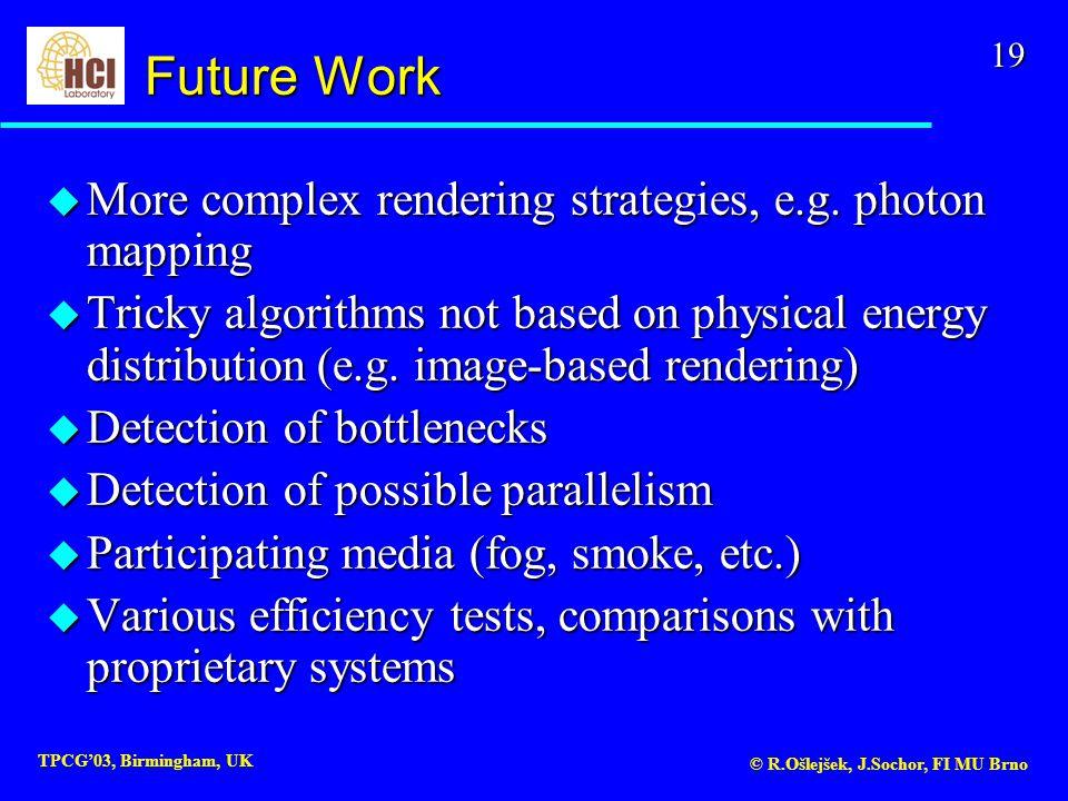 19 TPCG'03, Birmingham, UK © R.Ošlejšek, J.Sochor, FI MU Brno u More complex rendering strategies, e.g.