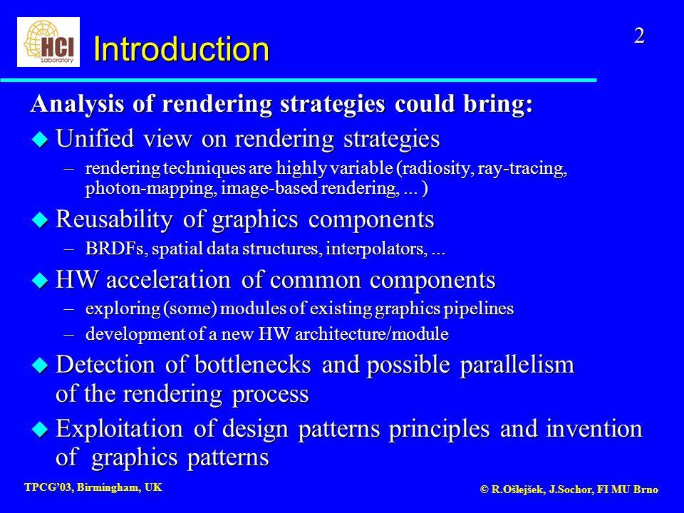 2 TPCG'03, Birmingham, UK © R.Ošlejšek, J.Sochor, FI MU Brno Analysis of rendering strategies could bring: u Unified view on rendering strategies –ren