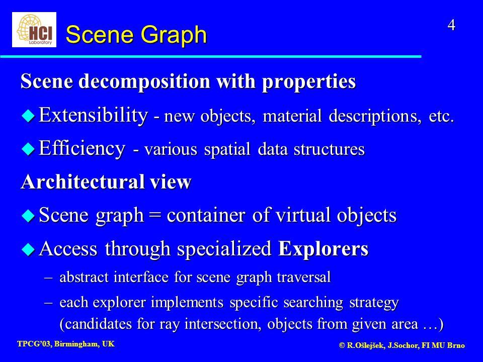4 TPCG'03, Birmingham, UK © R.Ošlejšek, J.Sochor, FI MU Brno Scene decomposition with properties u Extensibility - new objects, material descriptions, etc.