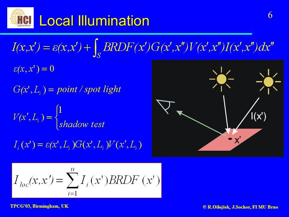 6 TPCG'03, Birmingham, UK © R.Ošlejšek, J.Sochor, FI MU Brno x' I(x ) point / spot light Local Illumination