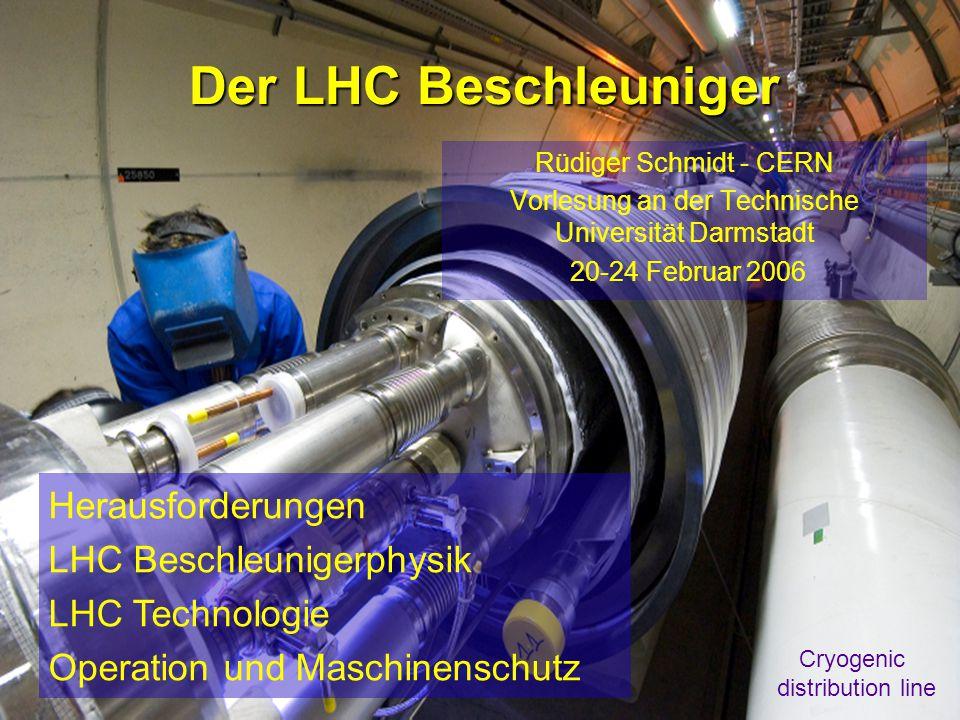 Rüdiger Schmidt - Februar 2006 - TU Darmstadt1 Der LHC Beschleuniger Rüdiger Schmidt - CERN Vorlesung an der Technische Universität Darmstadt 20-24 Februar 2006 Herausforderungen LHC Beschleunigerphysik LHC Technologie Operation und Maschinenschutz Cryogenic distribution line