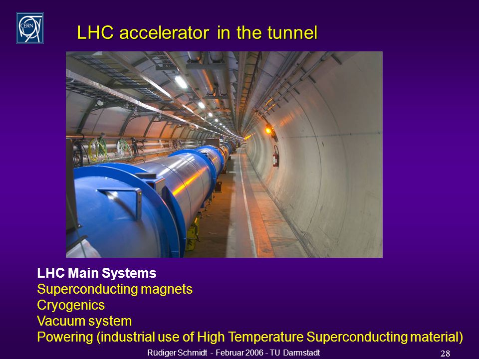 Rüdiger Schmidt - Februar 2006 - TU Darmstadt 28 LHC accelerator in the tunnel LHC Main Systems Superconducting magnets Cryogenics Vacuum system Powering (industrial use of High Temperature Superconducting material)
