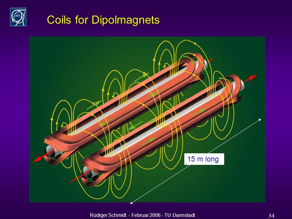 Rüdiger Schmidt - Februar 2006 - TU Darmstadt 34 Coils for Dipolmagnets 15 m long