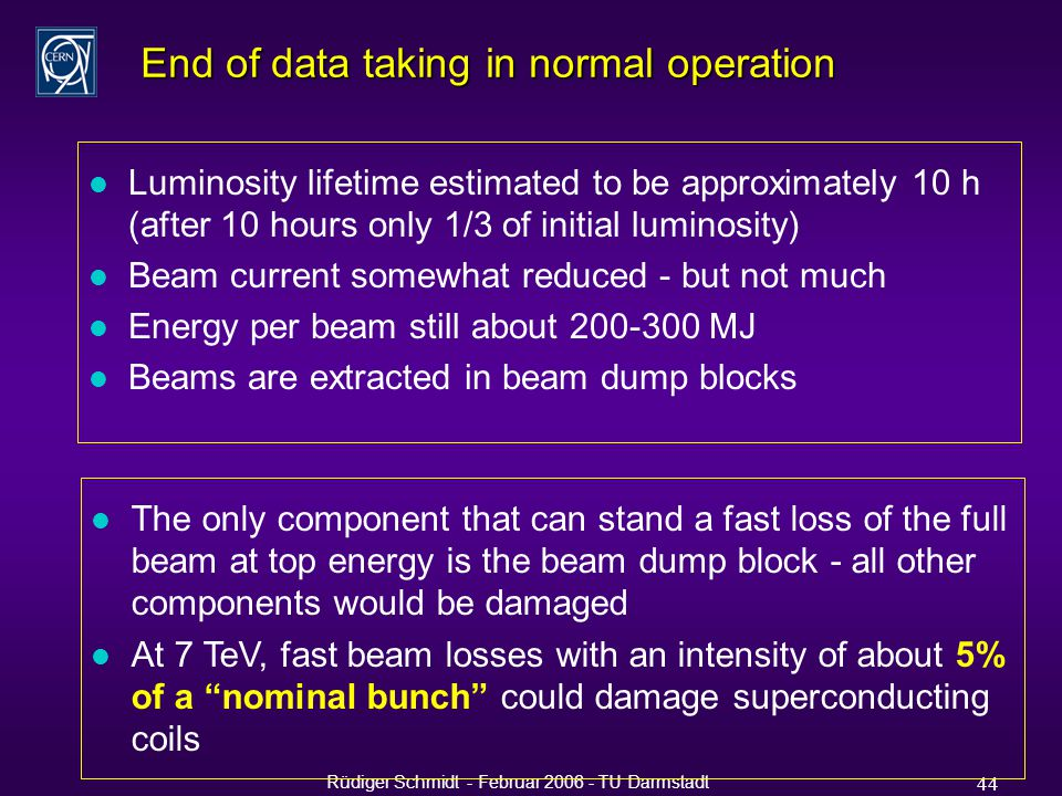 Rüdiger Schmidt - Februar 2006 - TU Darmstadt 44 End of data taking in normal operation l Luminosity lifetime estimated to be approximately 10 h (after 10 hours only 1/3 of initial luminosity) l Beam current somewhat reduced - but not much l Energy per beam still about 200-300 MJ l Beams are extracted in beam dump blocks l The only component that can stand a fast loss of the full beam at top energy is the beam dump block - all other components would be damaged l At 7 TeV, fast beam losses with an intensity of about 5% of a nominal bunch could damage superconducting coils