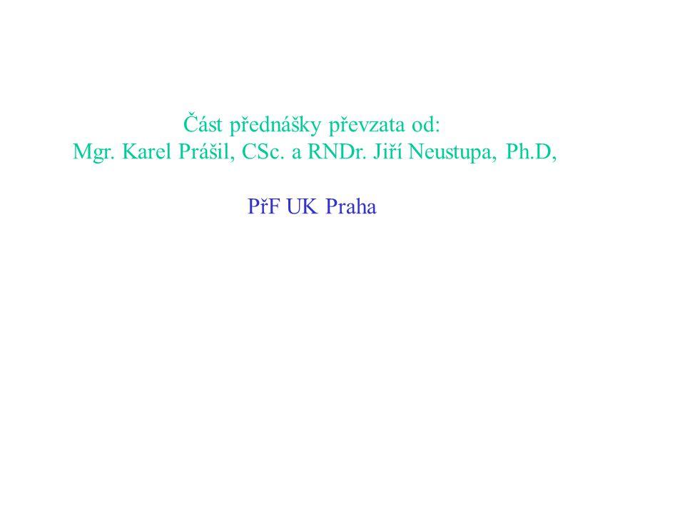 Část přednášky převzata od: Mgr. Karel Prášil, CSc. a RNDr. Jiří Neustupa, Ph.D, PřF UK Praha