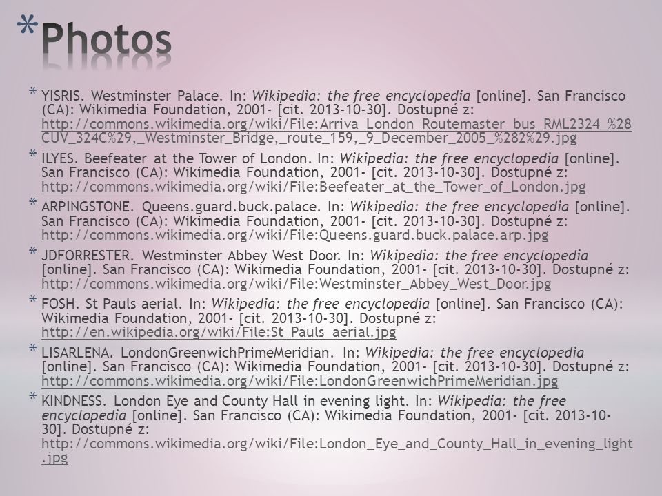 * YISRIS. Westminster Palace. In: Wikipedia: the free encyclopedia [online].