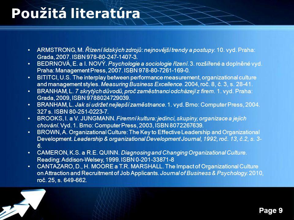 Powerpoint Templates Page 9 Použitá literatúra ARMSTRONG, M.