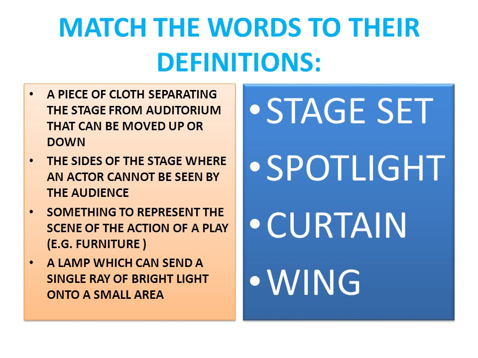 MATCH THE WORDS TO THEIR DEFINITIONS: A PIECE OF CLOTH SEPARATING THE STAGE FROM AUDITORIUM THAT CAN BE MOVED UP OR DOWN THE SIDES OF THE STAGE WHERE AN ACTOR CANNOT BE SEEN BY THE AUDIENCE SOMETHING TO REPRESENT THE SCENE OF THE ACTION OF A PLAY (E.G.