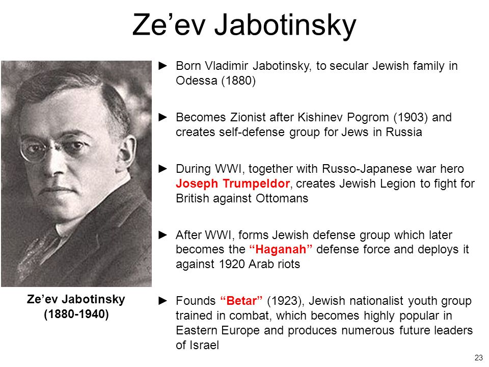 23 Ze'ev Jabotinsky ►Born Vladimir Jabotinsky, to secular Jewish family in Odessa (1880) ►Becomes Zionist after Kishinev Pogrom (1903) and creates sel