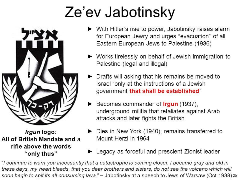 "25 Ze'ev Jabotinsky ►With Hitler's rise to power, Jabotinsky raises alarm for European Jewry and urges ""evacuation"" of all Eastern European Jews to Pa"