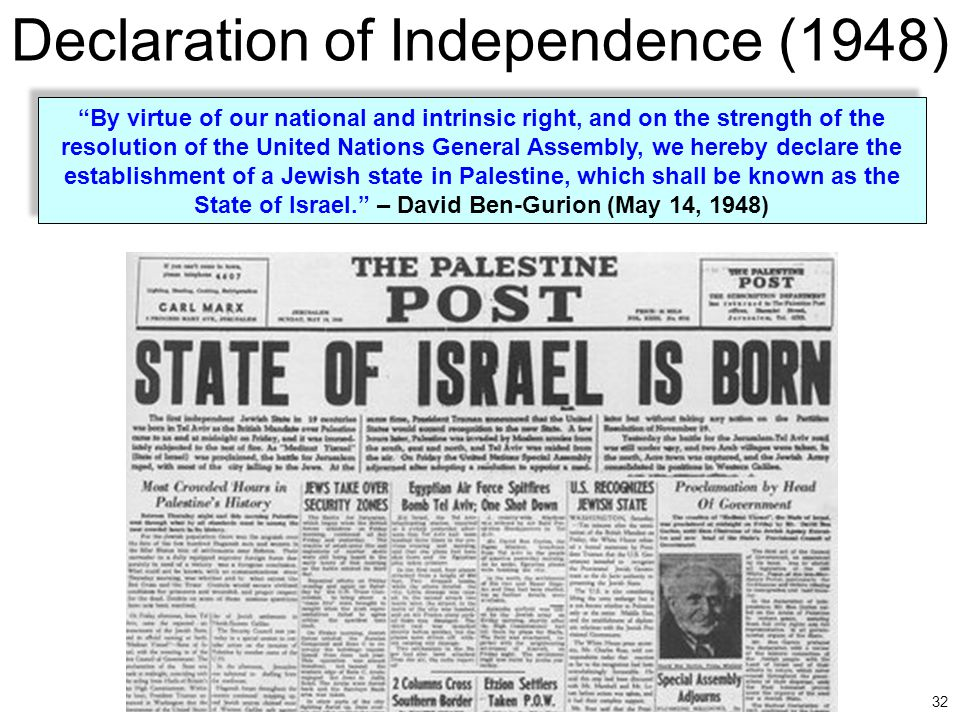 """32 Declaration of Independence (1948) """"By virtue of our national and intrinsic right, and on the strength of the resolution of the United Nations Gene"""
