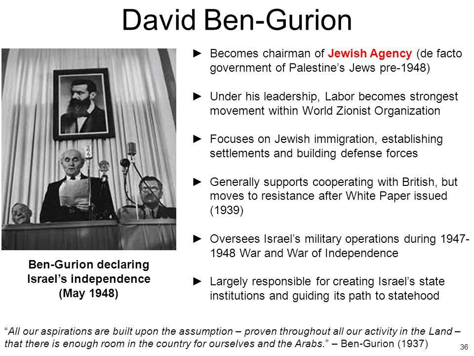 36 David Ben-Gurion ►Becomes chairman of Jewish Agency (de facto government of Palestine's Jews pre-1948) ►Under his leadership, Labor becomes stronge