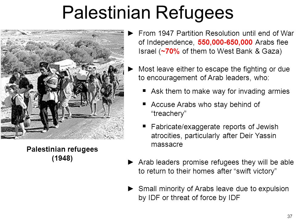 37 Palestinian Refugees ►From 1947 Partition Resolution until end of War of Independence, 550,000-650,000 Arabs flee Israel (~70% of them to West Bank