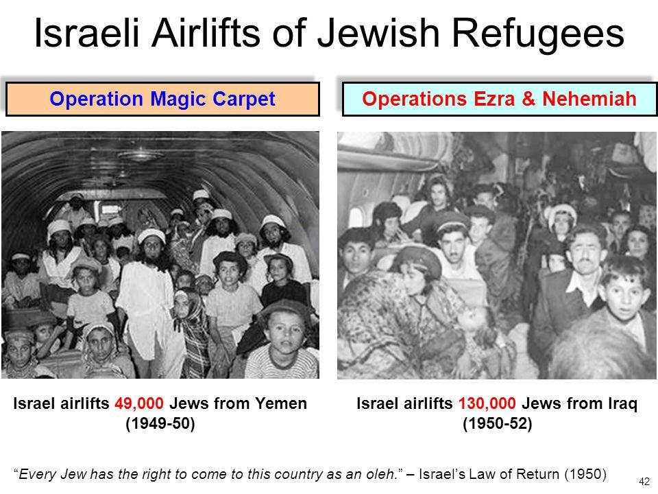 42 Israeli Airlifts of Jewish Refugees Israel airlifts 130,000 Jews from Iraq (1950-52) Operations Ezra & Nehemiah Operation Magic Carpet Israel airli