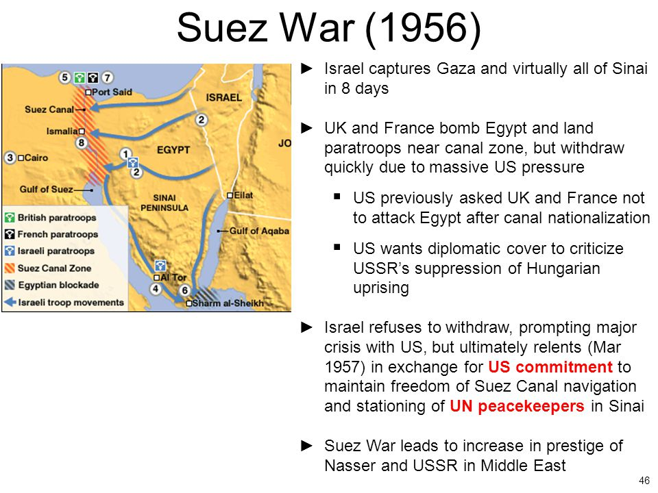 46 Suez War (1956) ►Israel captures Gaza and virtually all of Sinai in 8 days ►UK and France bomb Egypt and land paratroops near canal zone, but withd