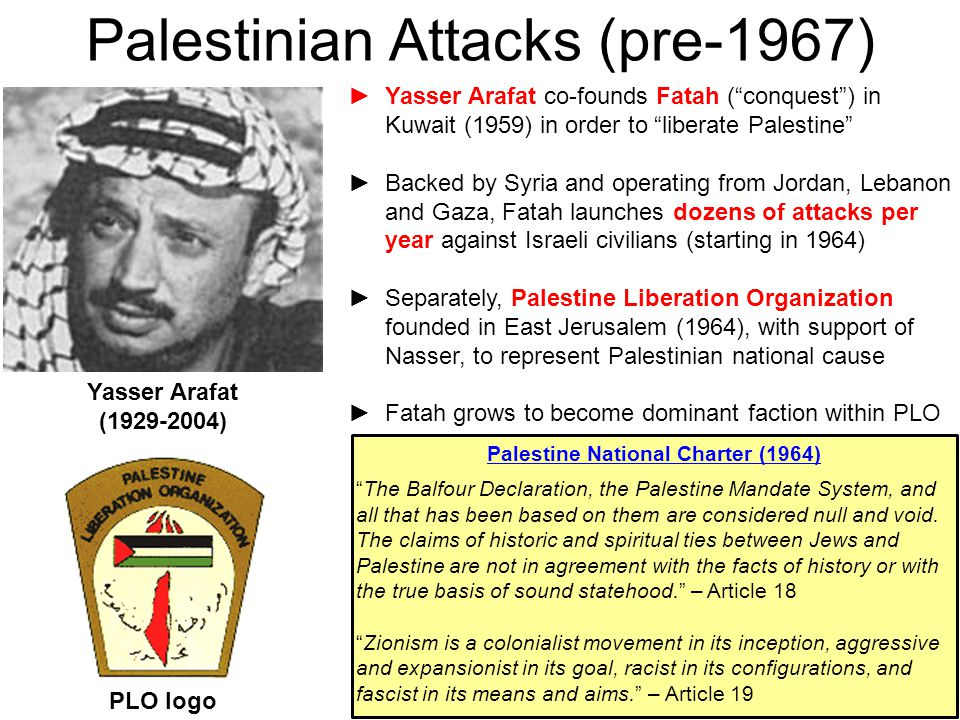 """48 Palestinian Attacks (pre-1967) ►Yasser Arafat co-founds Fatah (""""conquest"""") in Kuwait (1959) in order to """"liberate Palestine"""" ►Backed by Syria and o"""