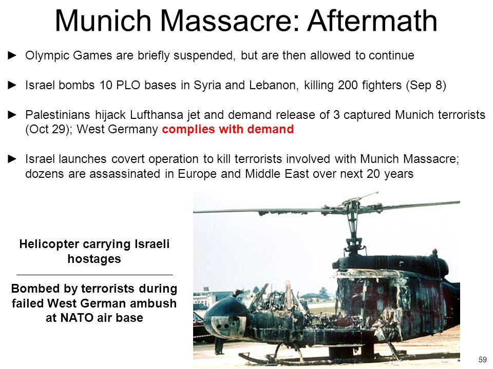 59 Munich Massacre: Aftermath ►Olympic Games are briefly suspended, but are then allowed to continue ►Israel bombs 10 PLO bases in Syria and Lebanon,