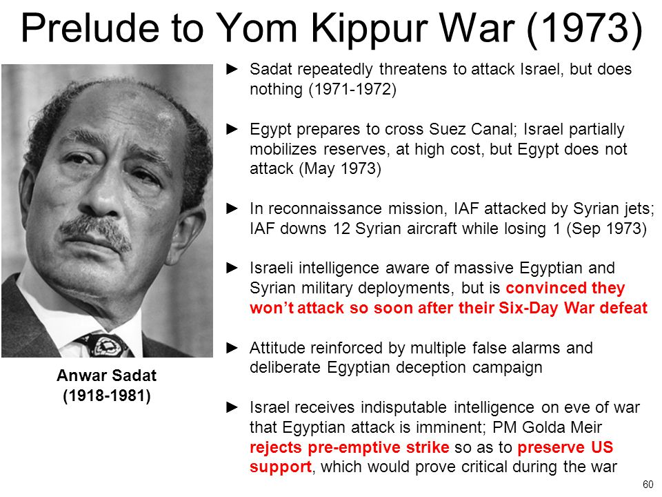 60 Prelude to Yom Kippur War (1973) ►Sadat repeatedly threatens to attack Israel, but does nothing (1971-1972) ►Egypt prepares to cross Suez Canal; Is