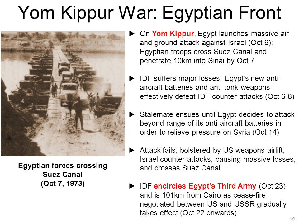 61 Yom Kippur War: Egyptian Front ►On Yom Kippur, Egypt launches massive air and ground attack against Israel (Oct 6); Egyptian troops cross Suez Cana