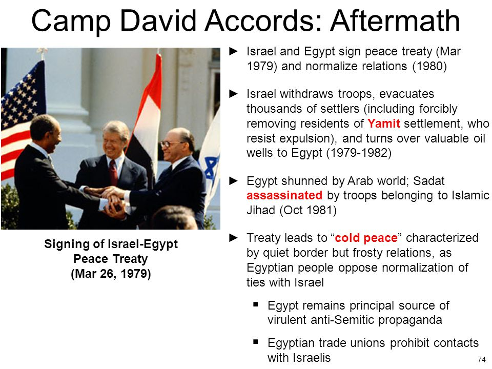 74 Camp David Accords: Aftermath ►Israel and Egypt sign peace treaty (Mar 1979) and normalize relations (1980) ►Israel withdraws troops, evacuates tho