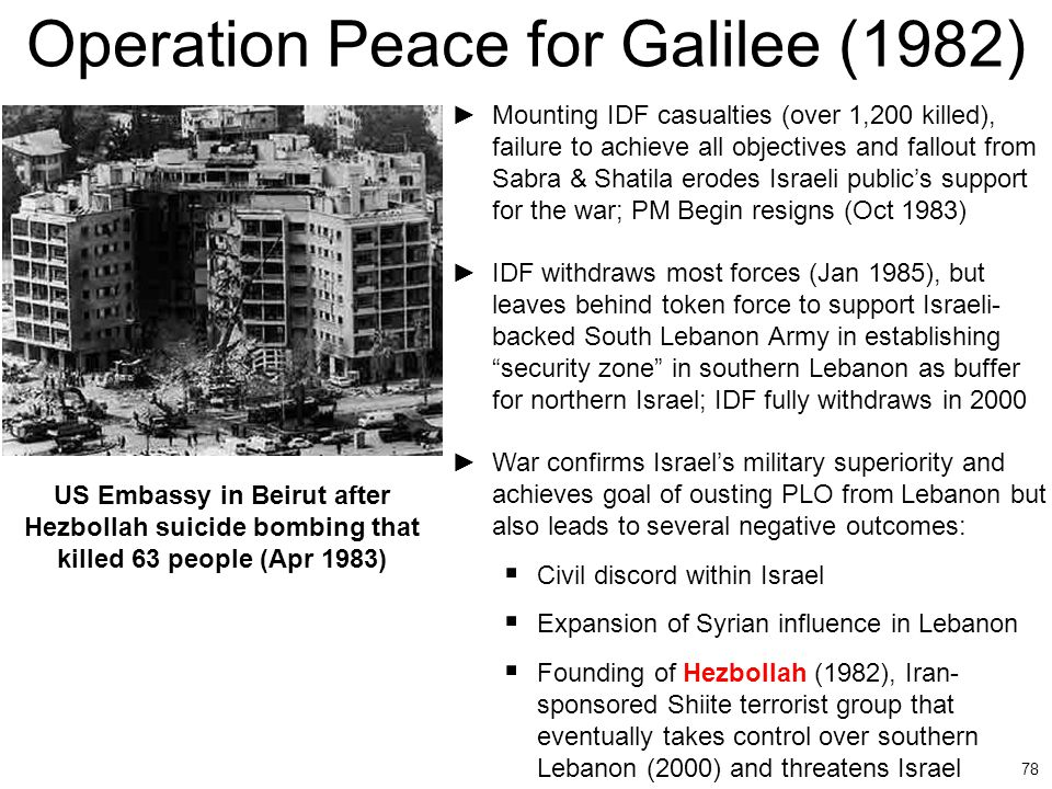 78 Operation Peace for Galilee (1982) US Embassy in Beirut after Hezbollah suicide bombing that killed 63 people (Apr 1983) ►Mounting IDF casualties (