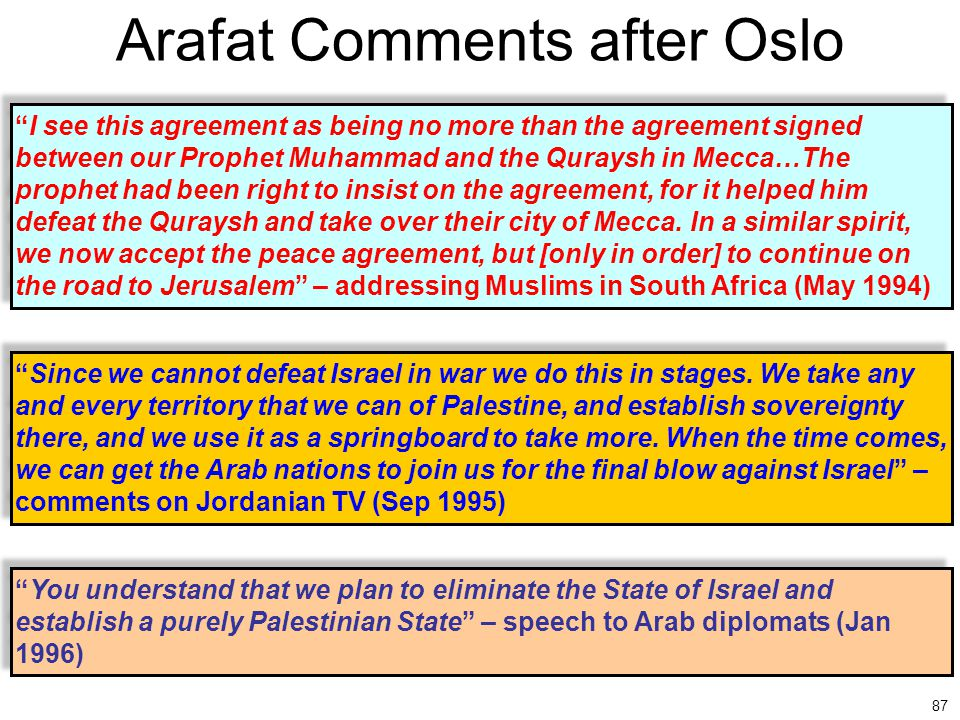 """87 Arafat Comments after Oslo """"I see this agreement as being no more than the agreement signed between our Prophet Muhammad and the Quraysh in Mecca…T"""