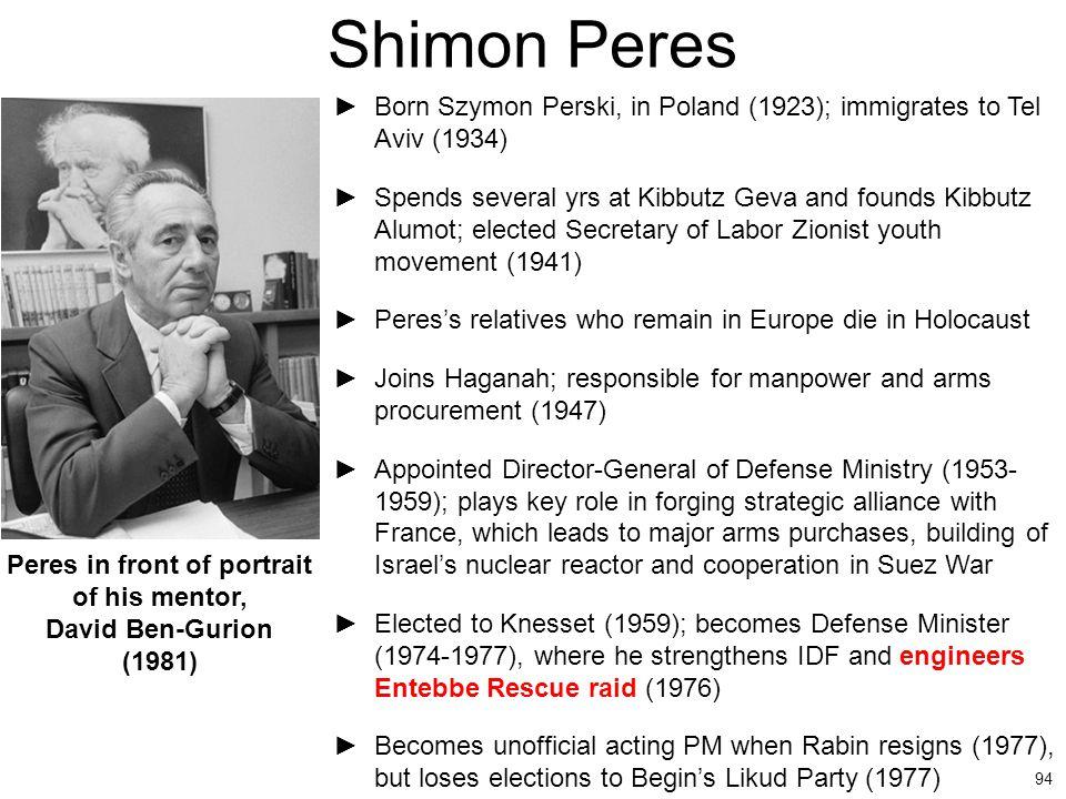 94 Shimon Peres Peres in front of portrait of his mentor, David Ben-Gurion (1981) ►Born Szymon Perski, in Poland (1923); immigrates to Tel Aviv (1934)