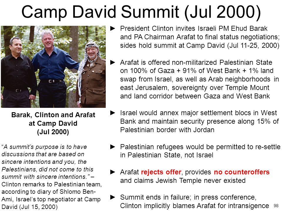 98 Camp David Summit (Jul 2000) ►President Clinton invites Israeli PM Ehud Barak and PA Chairman Arafat to final status negotiations; sides hold summi