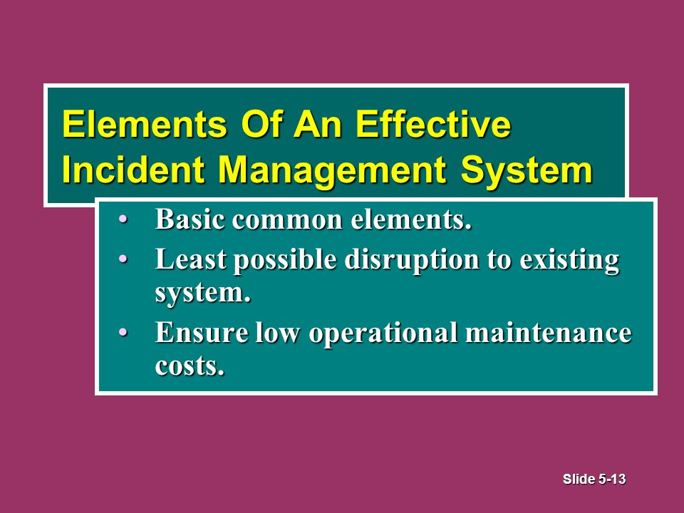 Slide 5-13 Elements Of An Effective Incident Management System Basic common elements.Basic common elements.