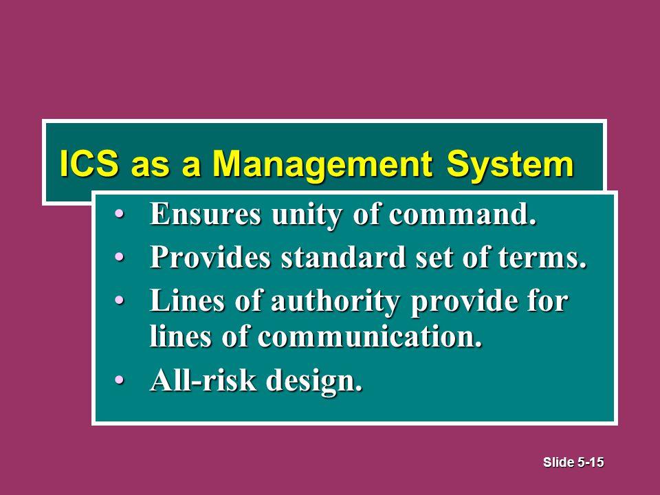 Slide 5-15 ICS as a Management System Ensures unity of command.Ensures unity of command.