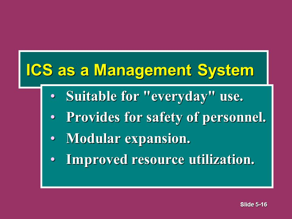 Slide 5-16 ICS as a Management System Suitable for everyday use.Suitable for everyday use.