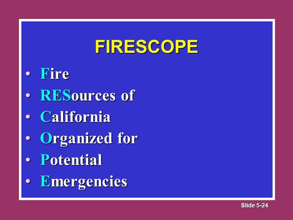 Slide 5-24 FireFire RESources ofRESources of CaliforniaCalifornia Organized forOrganized for PotentialPotential EmergenciesEmergencies FIRESCOPE
