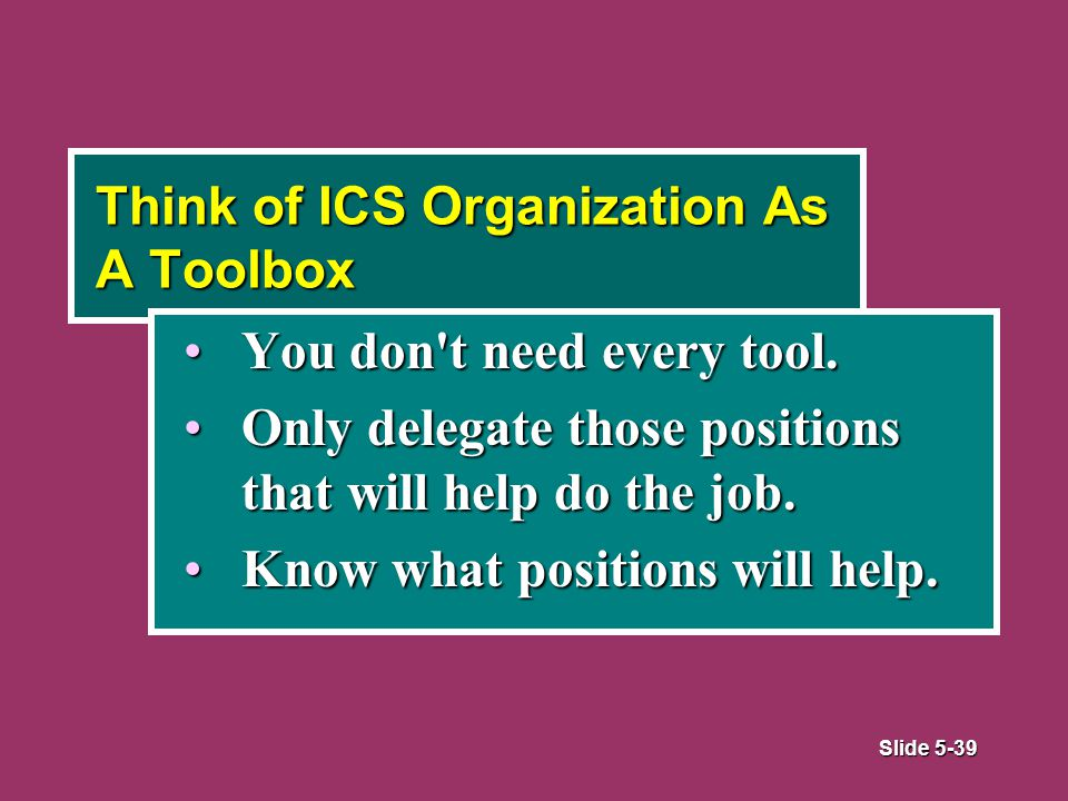 Slide 5-39 Think of ICS Organization As A Toolbox You don t need every tool.You don t need every tool.
